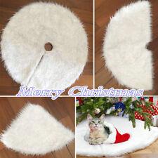 80cm Snow Plush Christmas Tree Skirt Base Floor Mat Cover XMAS Party Decoration