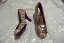 womens sofft brown fabric bow heels shoes size 8 1/2