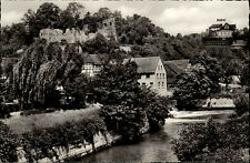 Salzderhelden Niedersachsen s/w AK ~1950/60 Blick auf Burgruine und Berghotel