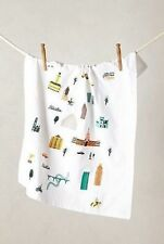NWT Anthropologie CITYWIDE DISHTOWEL Trounce Embroidery AUSTIN Buildings Cowboys