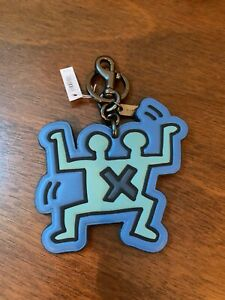 NWT -COACH x Keith Haring 'Double Human' Leather Key Ring / Chain Bag Charm Blue