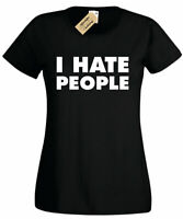 Womens I Hate People Funny T-Shirt Antisocial People Person ladies top gift