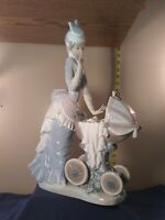 """Lladro """"Baby's Outing"""" Collectible Figurine  Retired Glazed Finish 12"""" tall 1976"""