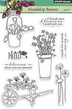 New Penny Black RUBBER STAMP clear Acrylic FRIENDSHIP FLOWERS free usa ship