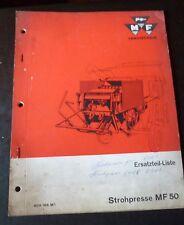 Massey Ferguson Mähdrescher Strohpresse MF50 Ersatzteilliste