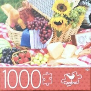 1000-PIECE FLOWERS JIGSAW PUZZLE FRUITS BASKET PICNIC TIME - SAME-DAY SHIP