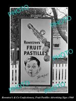 OLD LARGE HISTORIC PHOTO ROWNTREE CHOCOLATE, PASTILLES ADVERTISING POSTER 1960 1