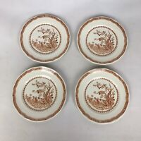 Vintage Set of Four Furnivals Brown Quail 5 3/4 Small Bread Plates