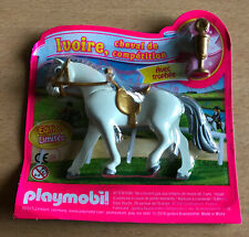 FIGURINE PLAYMO PLAYMOBIL NEUF IVOIRE LE CHEVAL DE COMPETITION EQUITATION