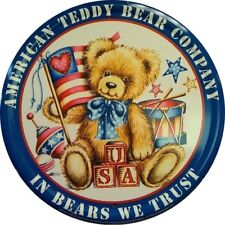 "Usa Teddy Bear 12"" Round Tin Metal Sign Nostalgic Kids Nursery Home Wall Decor"