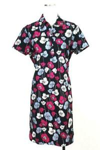 NEW $119 womens blue purple floral ANN TAYLOR modern collared shirt dress LARGE
