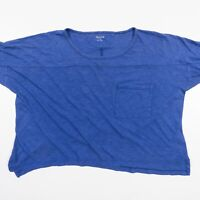 Madewell Boxy Crop Top Blue Cotton Soft Thin Relaxed Loose Fit Womens Small