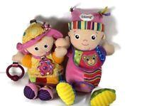 "Tomy Lamaze Baby Dolls - Maisie & Emily Sensory Feely Pram Cot Toys 13"" 0m+ x2"