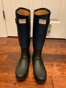 Hunter x Rag & Bone Blue & Black Knee High Rain Boots, Size 6 (US) 36 (EUR)