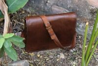 new Vintage Leather Men's Handmade Brown Laptop Shoulder Satchel Messenger Bag