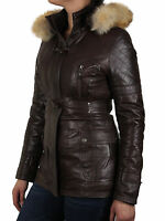 Ladies Women's Leather Biker Bomber Jacket With Real Fur And Detachable Hood