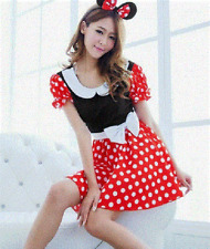 NEW ADULTS MINNIE MOUSE COSTUME FANCY DRESS WITH FREE EARS- LADIES SIZE SMALL