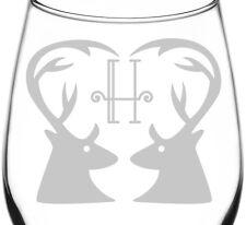 H | Dual Deer Antler Heart Wedding Monogram Inspired - Libbey Wine Taster Glass