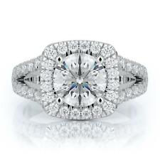 2 Ct D VS1 Diamond Certified Engagement Ring Round Cut 14k White Gold
