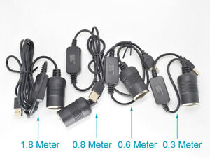 1pc USB A Male 5V To 12V Car Cigarette Lighter Socket Female Step Up Cable