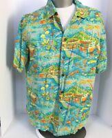 Iolani Hawaiian Shirt Sz Large Rayon Harbor Aloha Hawaii Sailboat Loop Collar