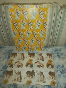 True Vintage CUTE DOGGY / CAT & DOG Wrapping Paper x 2 Sheets - ANIMAL Lovers
