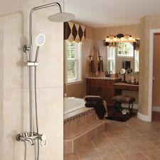 Brushed Nickel  Wall Mounted Bathroom Rain Shower Faucet Set Mixer Tap