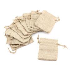 10pcs Small Burlap Jute Sack Linen Pouch Bag Drawstring Wedding Supplies SG