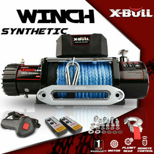 X-BULL 13000LBS Electric Winch Synthetic Towing Trailer Remote Control Off-Road~
