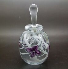 "ROBERT HELD Purple Flowers Vintage Art Glass Perfume Bottle,Apr 6""Hx3""W"