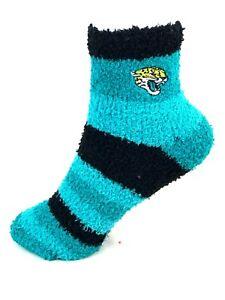 Jacksonville Jaguars Football Rainbow Stripe Soft Fuzzy Socks