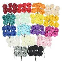 Bunch of 6 Regular Colourfast Foam Roses! Wedding Craft Bridal Fake Silk Quality