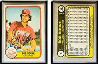 Bob Boone Signed 1981 Fleer #4 Card Philadelphia Phillies Auto Autograph
