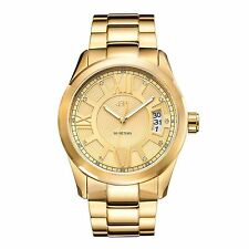 NEW JBW J6311A Men's Diamond Accented Roman Numeral 18K Gold Ion-Plated SS Watch