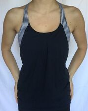 LULULEMON Size 6 Practice Freely Tank Inkwell Navy Blue Gingham Bra Top Flow EUC