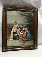 "VTG Framed Victorian Ladys in Park  Cherry Wood Gold Leaf Corner Frame 24""X20.5'"