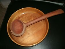 WOODEN BOWL WITH 14 INCH ONE PIECE WOODEN SCOOP