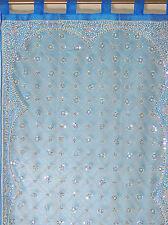 "Blue Curtain Panel - Zardozi Embroidered Beaded India Window Treatments 92"""