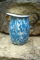 Antique Blue & White Swirl Graniteware Enamelware Large Water or Milk Pitcher