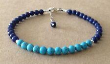 Turquoise+Lapis Lazuli Gemstone, Sterling Silver, Beaded Friendship Bracelet