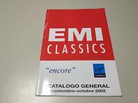 0120- EMI CLASSICS CATALOGO GENERAL SEP/OCT 2002 ENCORE 85 PAGINAS