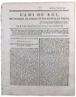 Journal Royaliste L'ami du Roi 1791 Révolution Française Gorze Moselle St Malo