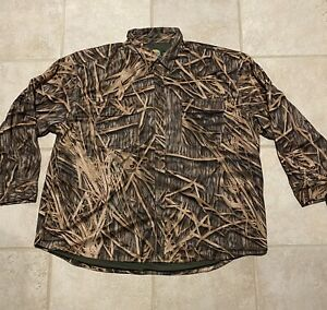 Cabelas Men's Mossy Oak Flannel Shirt 100% Polyester Camo Size 3XL
