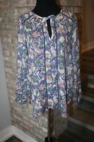 Lucky Brand Womens Multi Color Floral Tunic Long Sleeve Tie Collar Blouse SZ S