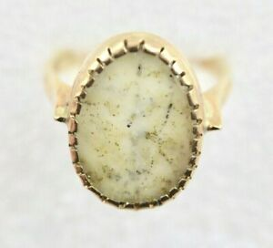 Natural Gold in Quartz Rock in 14k Solid Gold Custom Ring Setting - Size 8
