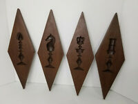 Wall Hanging Mid-Century Chess Pieces Diamond Shaped Burwood Homco Syrco Lot 4