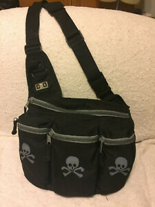 Diaper Dude Messenger Bag Diaper Bag - Skull and Crossbones for Rockabilly Dad