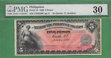 1920 BANK OF THE PHILIPPINES ISLANDS FIVE PESO P-13 PMG VF 30