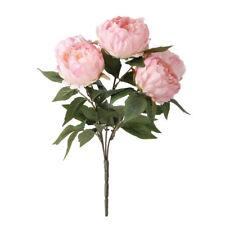 Pink 5 Heads Artificial Silk Peony Posy Wedding Flower Home Bouquet Decor