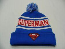 SUPERMAN - Royal Blue & White - ADULT SIZE STOCKING CAP BEANIE HAT!